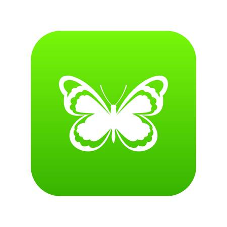 Small butterfly icon digital green for any design isolated on white vector illustration