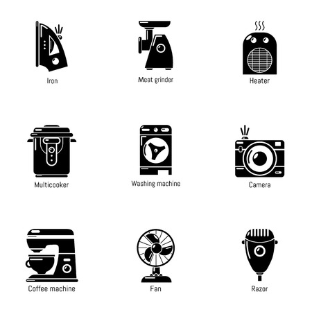 Domestic tech icons set. Simple set of 9 domestic tech vector icons for web isolated on white background
