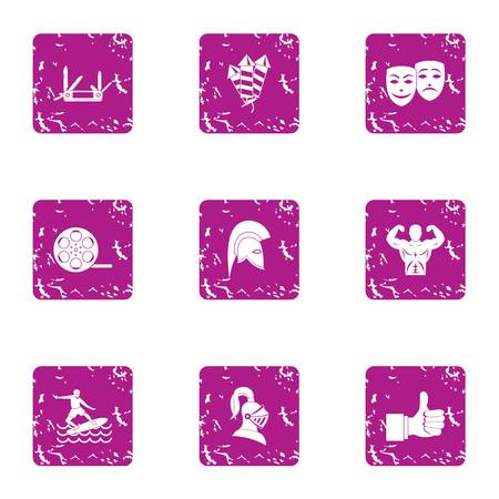 Narrative icons set. Grunge set of 9 narrative vector icons for web isolated on white background Illustration