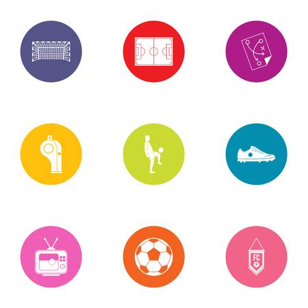 FC icons set. Flat set of 9 fc vector icons for web isolated on white background