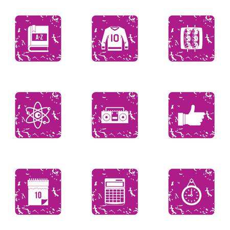 University employment icons set. Grunge set of 9 university employment vector icons for web isolated on white background