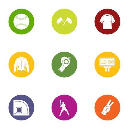 Baseball game icons set. Flat set of 9 baseball game vector icons for web isolated on white background