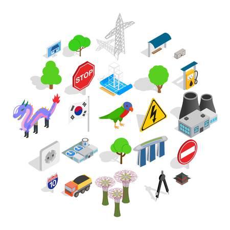 Roadside icons set. Isometric set of 25 roadside vector icons for web isolated on white background