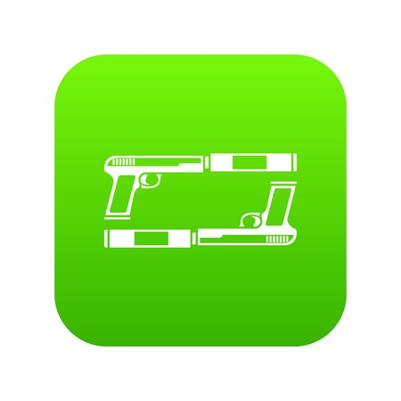 Gun icon digital green for any design isolated on white vector illustration