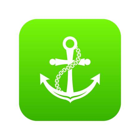 Anchor icon green vector isolated on white background