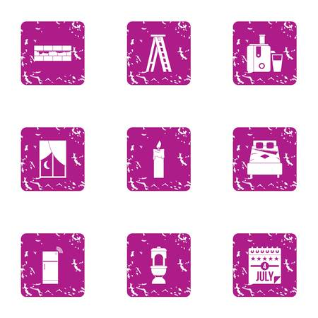 America rest day icons set. Grunge set of 9 america rest day vector icons for web isolated on white background