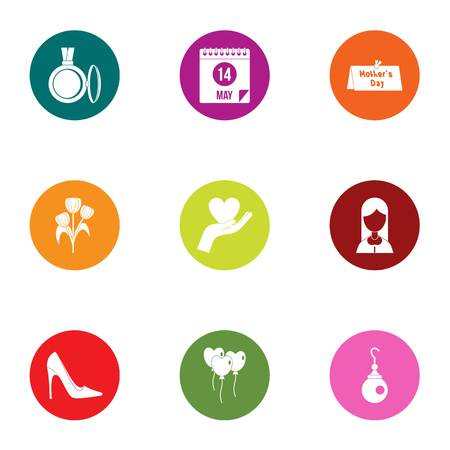 Courtship icons set. Flat set of 9 courtship vector icons for web isolated on white background Vettoriali