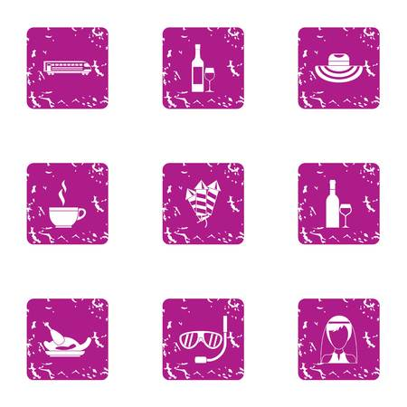Mexican wedding icons set. Grunge set of 9 mexican wedding vector icons for web isolated on white background