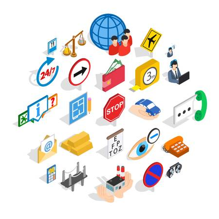 Look after icons set. Isometric set of 25 look after vector icons for web isolated on white background