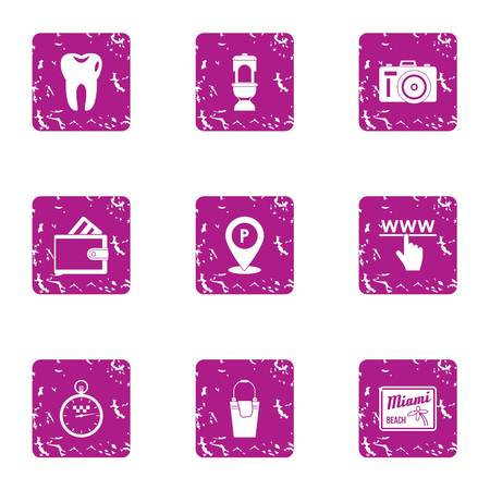 Online interactive icons set. Grunge set of 9 online interactive vector icons for web isolated on white background