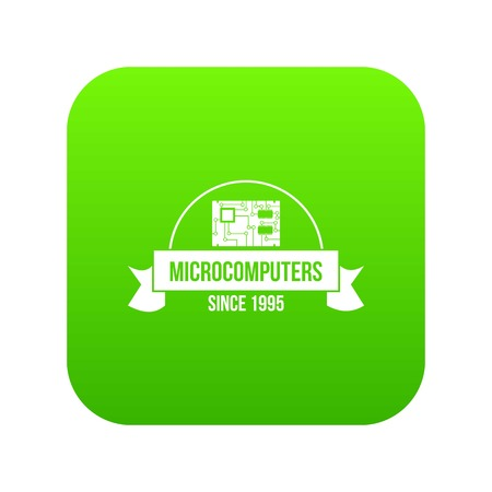 Microcomputers icon green vector isolated on white background