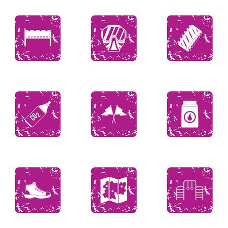 Severe preparation icons set. Grunge set of 9 severe preparation vector icons for web isolated on white background