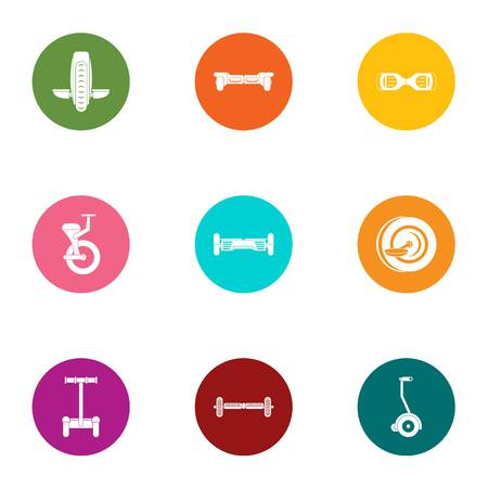 Urban movement icons set. Flat set of 9 urban movement vector icons for web isolated on white background