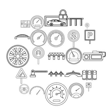 Asphalt icons set. Outline set of 25 asphalt vector icons for web isolated on white background Illustration