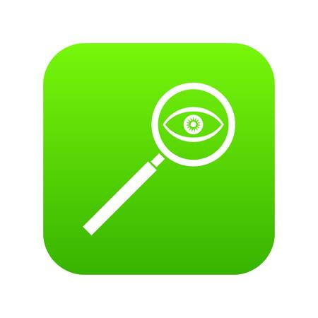 Magnifying glass icon digital green for any design isolated on white vector illustration