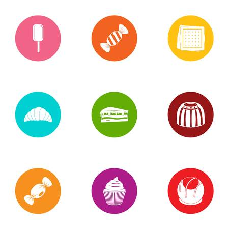 Sweetener icons set. Flat set of 9 sweetener vector icons for web isolated on white background