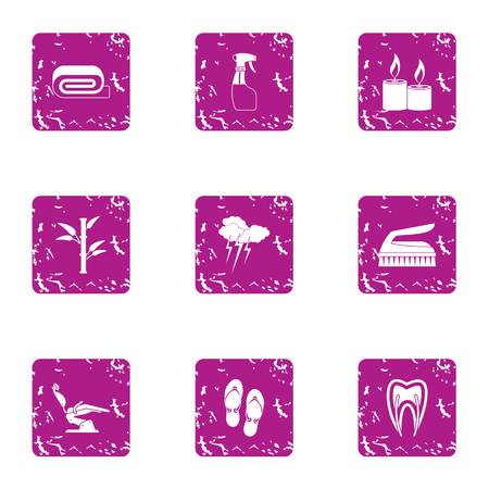 Care of entrails icons set. Grunge set of 9 care of entrails vector icons for web isolated on white background
