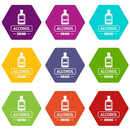 Quality alcohol icons 9 set coloful isolated on white for web