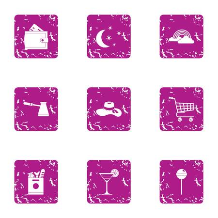 Convenience store icons set. Grunge set of 9 convenience store vector icons for web isolated on white background
