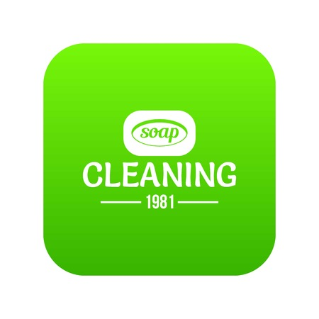 Cleaning soap icon green vector isolated on white background