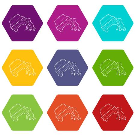 People overturned car icons 9 set coloful isolated on white for web Ilustración de vector