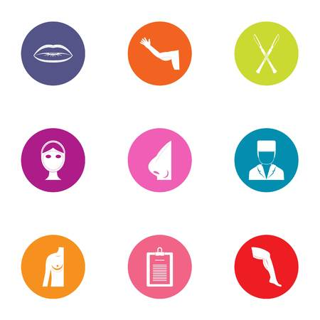 Body sculpture icons set. Flat set of 9 body sculpture vector icons for web isolated on white background