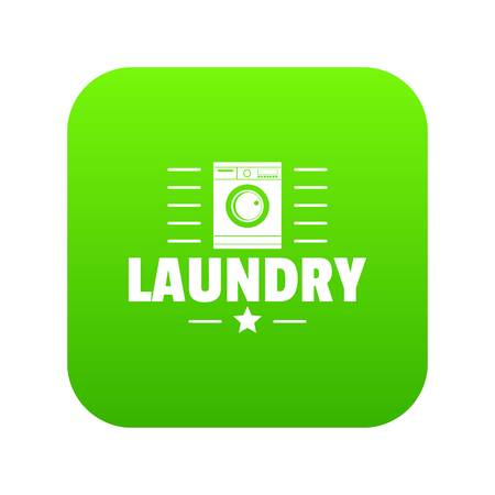 Laundry icon green vector isolated on white background