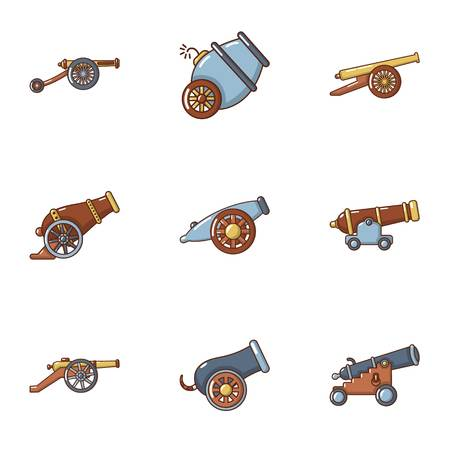 Artillery icons set. Cartoon set of 9 artillery vector icons for web isolated on white background Illustration
