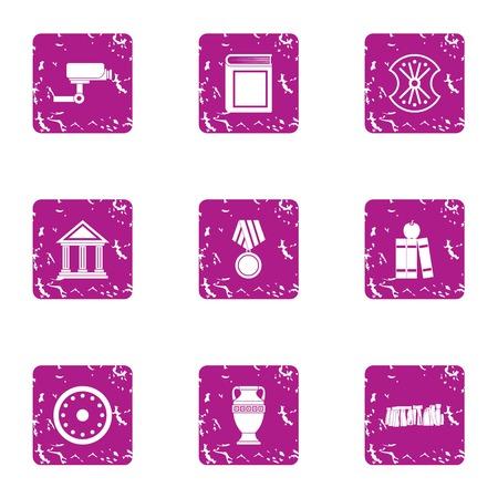 Construction of museum icons set. Grunge set of 9 construction of museum vector icons for web isolated on white background Illustration