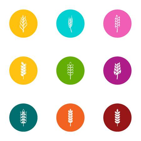 Grow rye icons set. Flat set of 9 grow rye vector icons for web isolated on white background