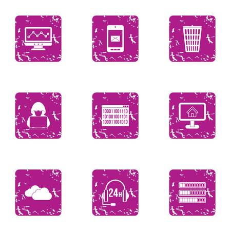 Cyberspace threat icons set. Grunge set of 9 cyberspace threat vector icons for web isolated on white background  イラスト・ベクター素材