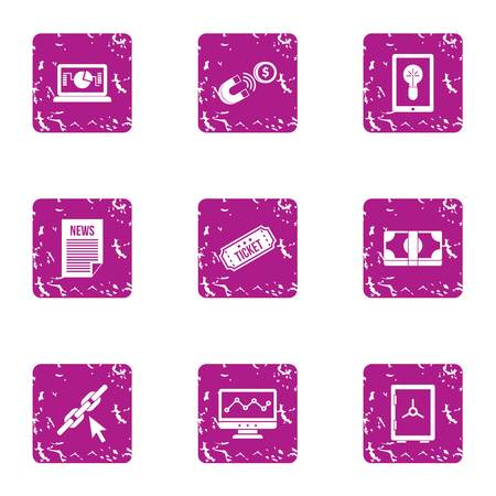 Newsroom icons set. Grunge set of 9 newsroom vector icons for web isolated on white background