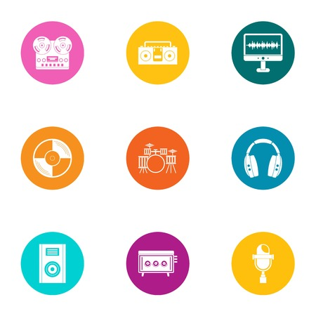 Overhear icons set. Flat set of 9 overhear vector icons for web isolated on white background Illustration