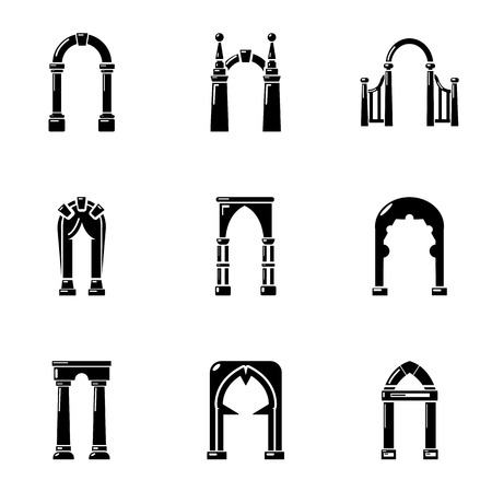 Circular arc icons set. Simple set of 9 circular arc vector icons for web isolated on white background Vector Illustration