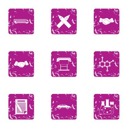 Chemical chaos icons set. Grunge set of 9 chemical chaos vector icons for web isolated on white background Illustration