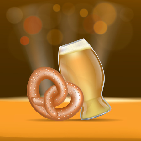 Beer and pretzel fest concept banner, realistic style
