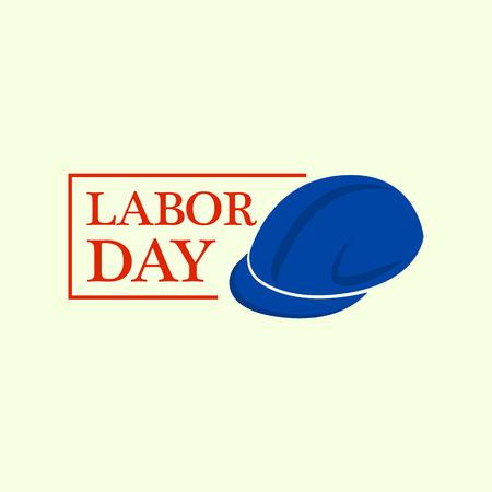 Helmet labor day logo. Flat illustration of helmet labor day vector logo for web design