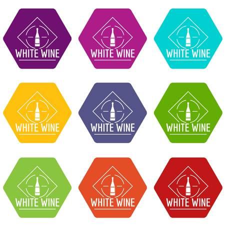 Wine icons set 9 vector