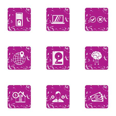 Division icons set. Grunge set of 9 division vector icons for web isolated on white background