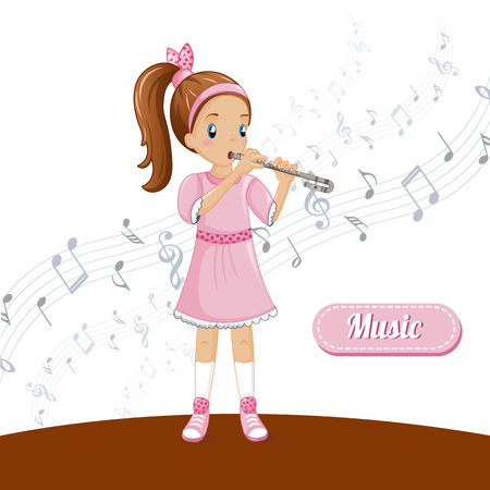 Girl flute talent music concept background. Cartoon illustration of girl flute talent music vector concept background for web design