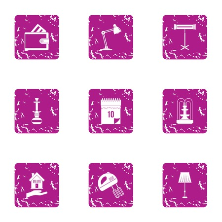 Workstation icons set. Grunge set of 9 workstation vector icons for web isolated on white background