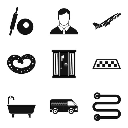 Activity icons set, simple style