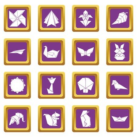 Origami icons set purple square