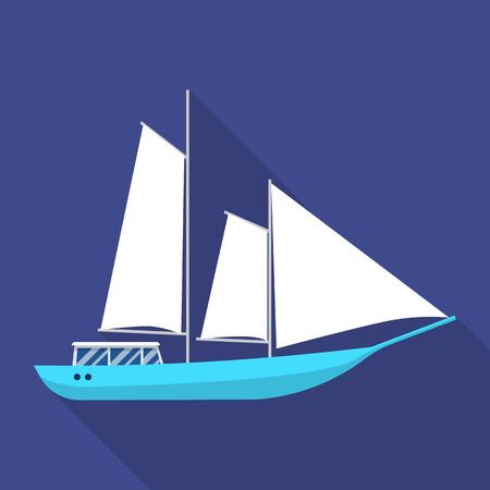 Masted schooner ship icon, flat style Stock Photo