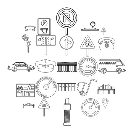 Pavement icons set, outline style