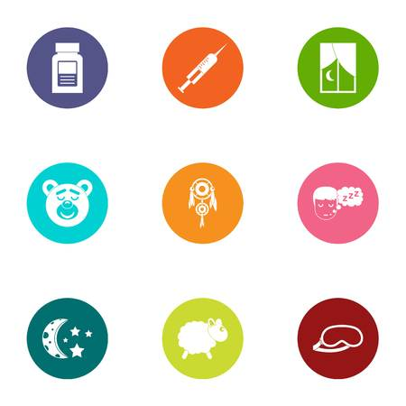 Soporific icons set. Flat set of 9 soporific vector icons for web isolated on white background
