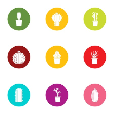 Home cactus icons set. Flat set of 9 home cactus vector icons for web isolated on white background Illustration