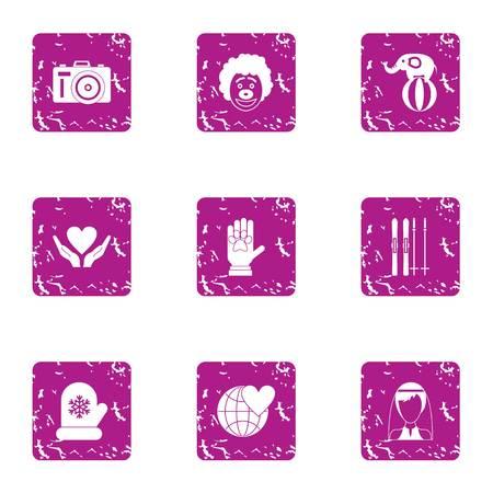 Philanthropy icons set, grunge style Illustration