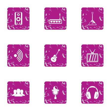 Music transmission icons set. Grunge set of 9 music transmission vector icons for web isolated on white background