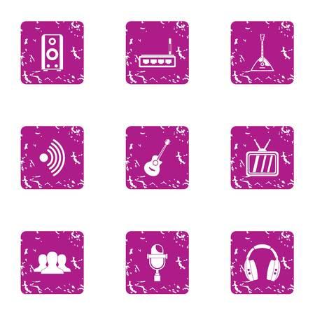 Music transmission icons set. Grunge set of 9 music transmission vector icons for web isolated on white background